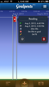 This shows how you can quickly see your goal information on the timeline