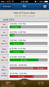 Tapping the overview button on the lower left of the home screen will show more in depth information about your goal.